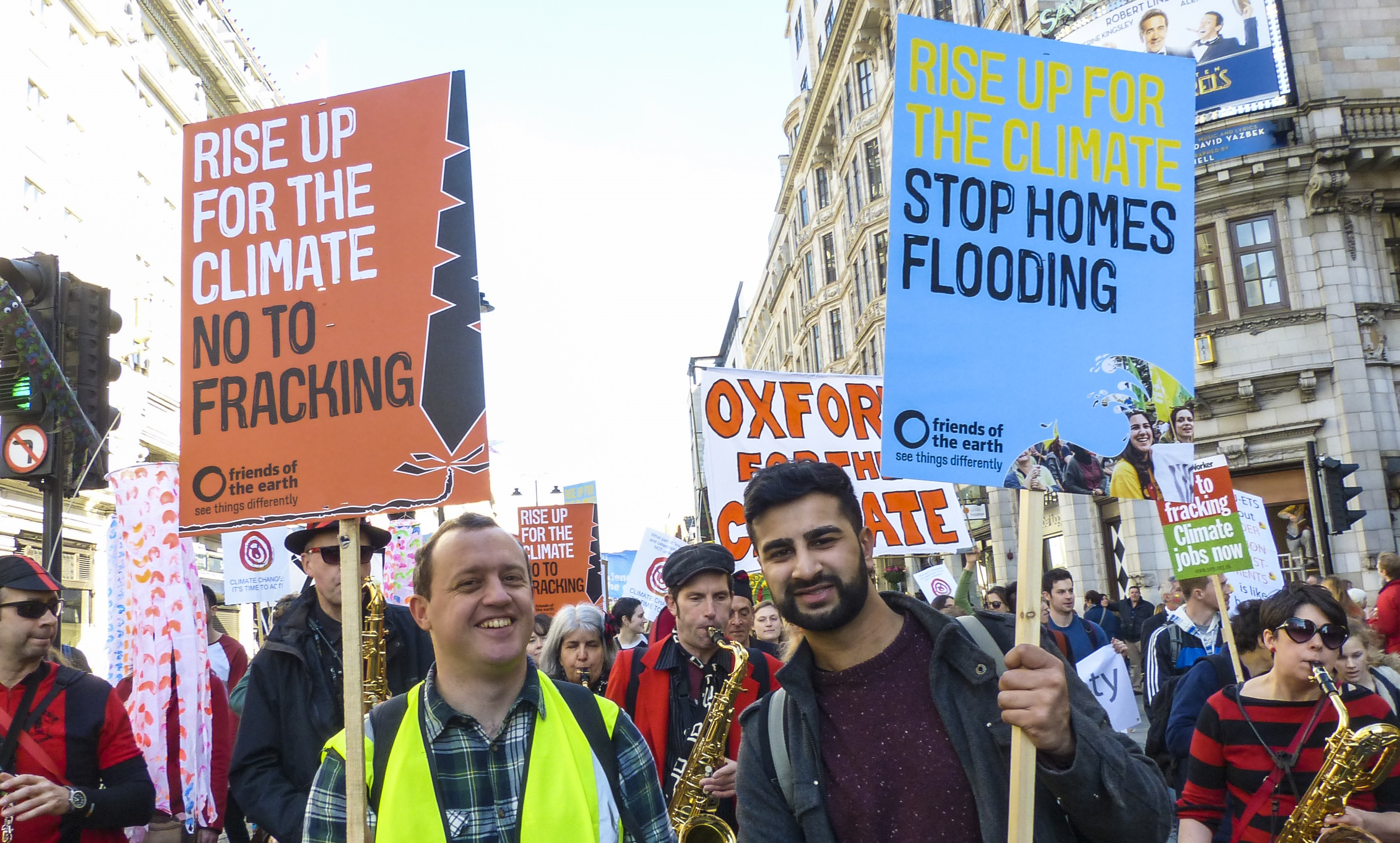 Anti-fracking placards at the climate march