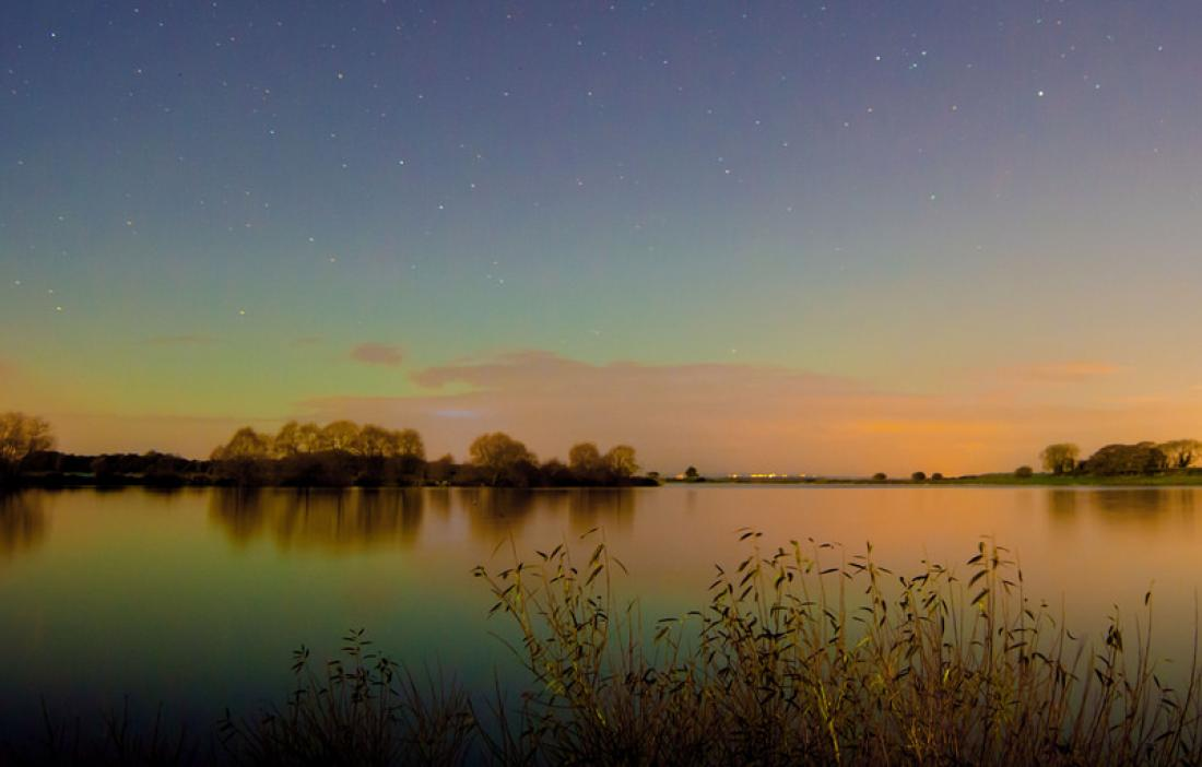 Moonlit aurora at Lough Neagh