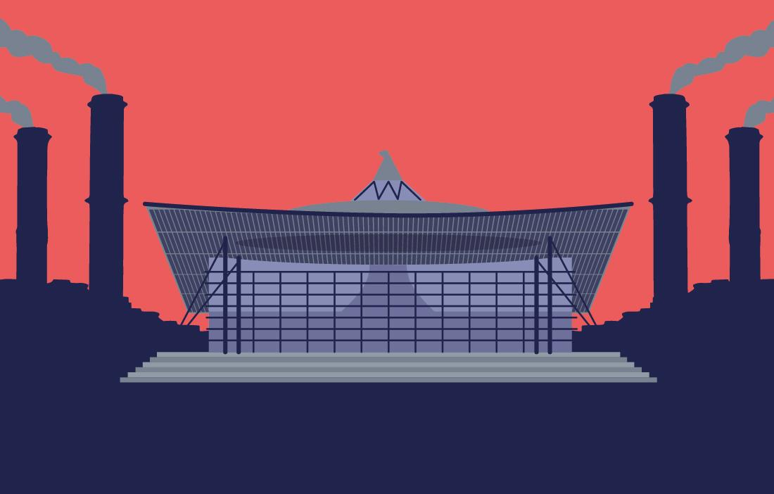 Animated picture of the Welsh Assembly Building in Cardiff Bay with three long chimneys either side billowing out smoke