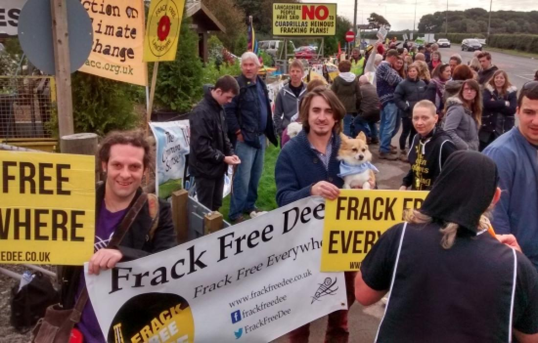 People from the local community show their opposition to drilling at Ellesmere Port