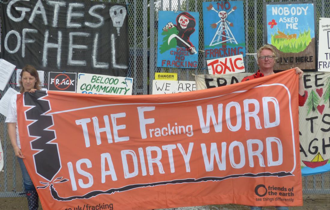 Protestors at a fracking site in Northern Ireland