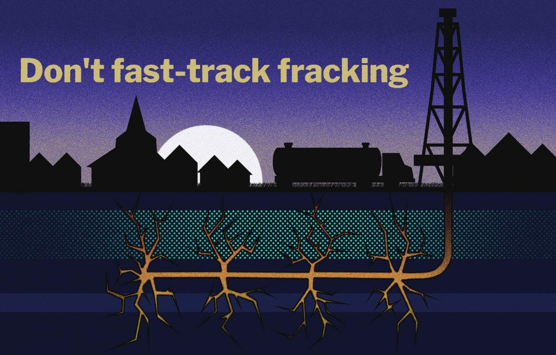 Illustration of a fracking rig at night