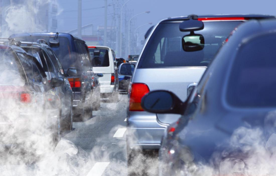 Exhaust fumes in traffic